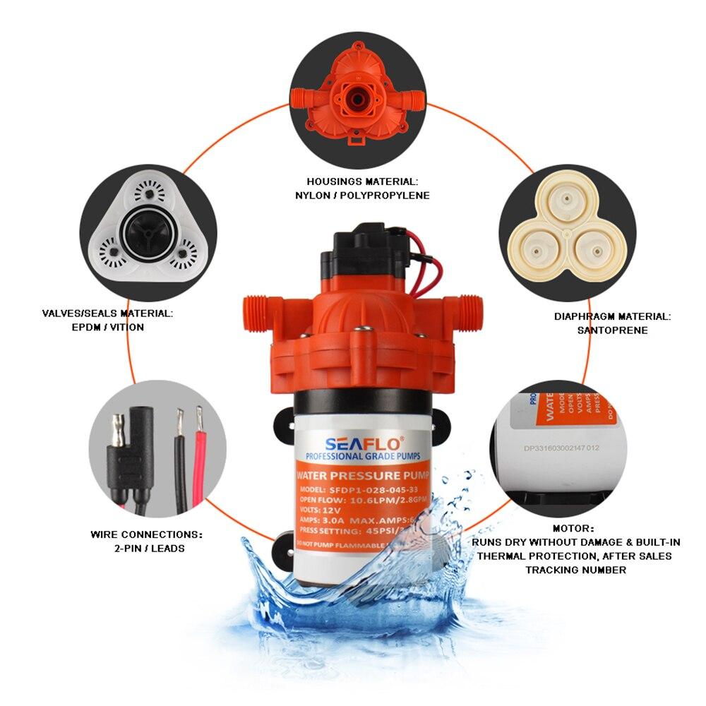 3 Chamber Water Pump 12v 45PSI 3.0 GPM Self Priming Marine Diaphragm Pump Caravan Boat RV Camper 8.0A enlarge