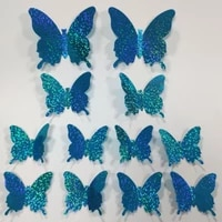 12pcs pvc 3d%c2%a0 simulation flash diy butterfly wall stickers home decor poster for kitchen room adhesive to wall decals decor