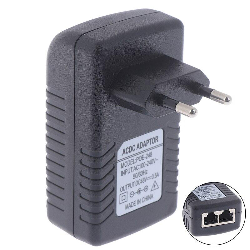 Suministro de alimentador POE de vigilancia de seguridad 48V 0.5A 24W enchufe de pared POE inyector Ethernet adaptador IP Cámara teléfono enchufe de la UE
