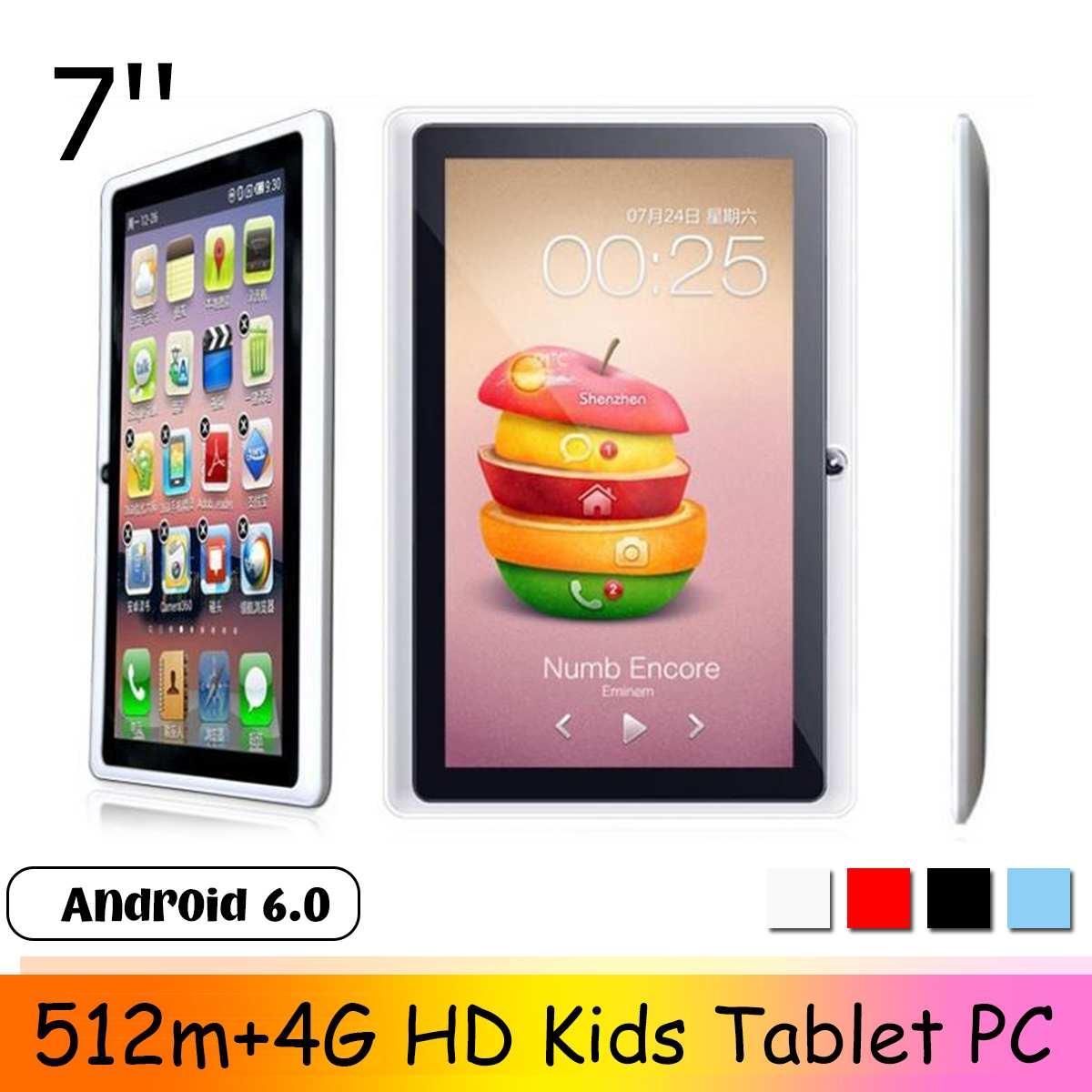 Tablet pc 7 polegada hd 512m + 4gb crianças almofada android 6.0 quad core 4000mah wifi navegação guia aprendizagem tablet