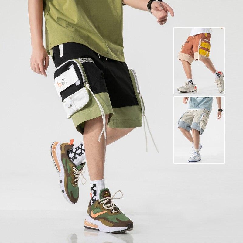 3xl homens verão novo hip hop streetwear casual clássico bolsos de carga shorts homens moda rib harajuku solto ajuste shorts calças