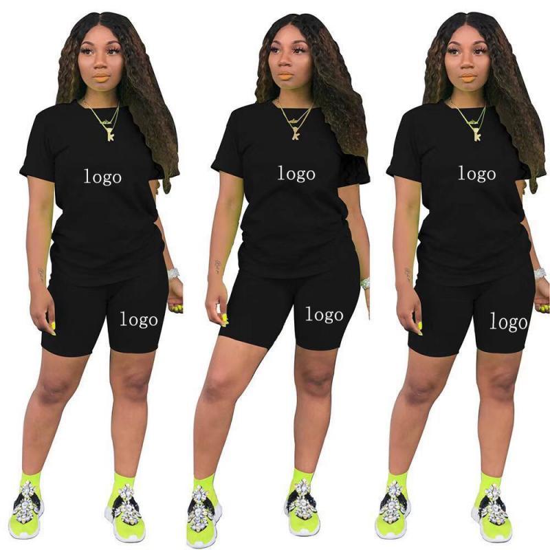 مخصص شعار النساء 2 قطعة مجموعة الصيف الرياضية قصيرة الأكمام أعلى + الركض السراويل و طماق دعوى الرياضية اللياقة البدنية الملابس