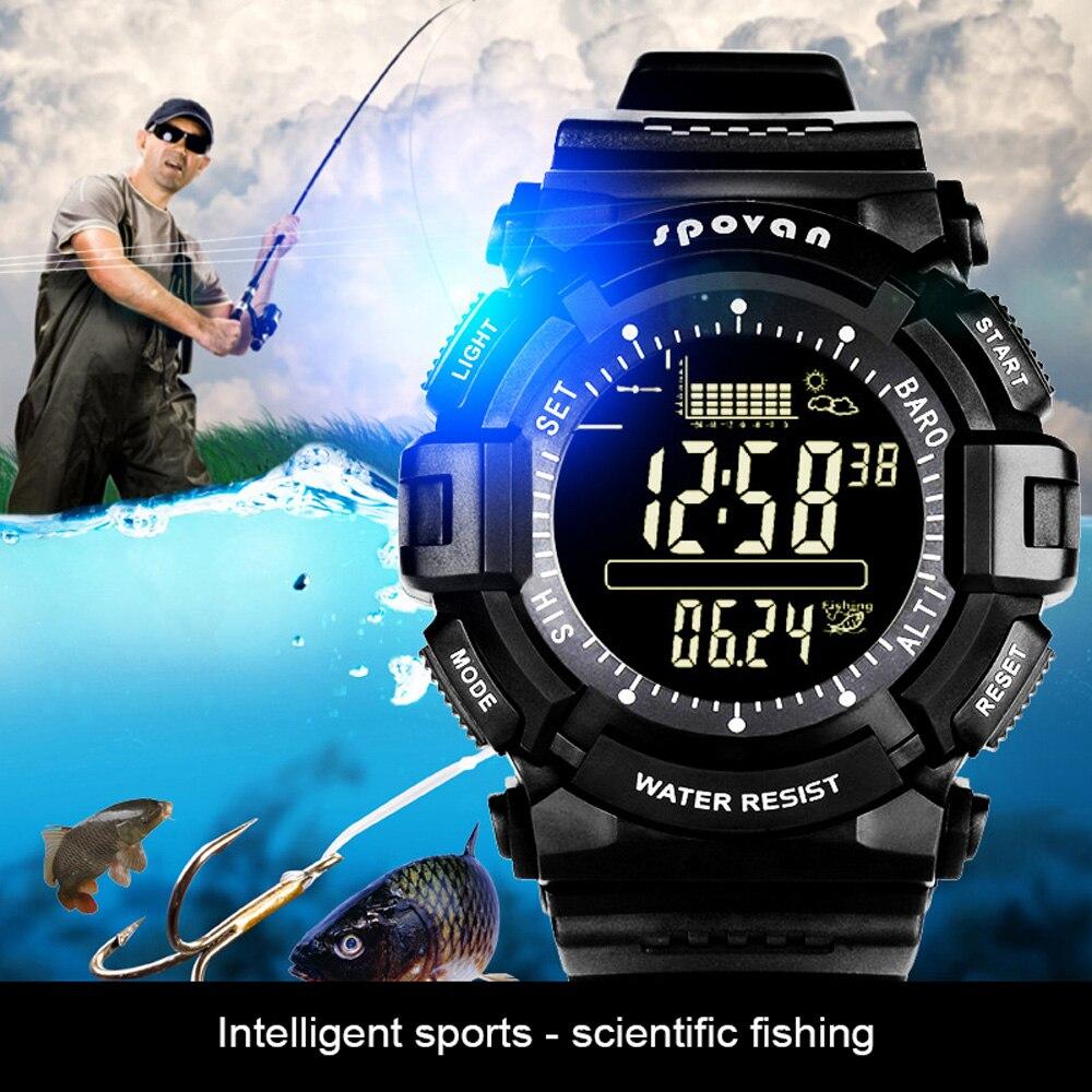 Al aire libre Brújula de pesca reloj de pulsera de seguimiento de pesca tierra pronóstico del tiempo altímetro barómetro Thermomete pesca Smartwatch
