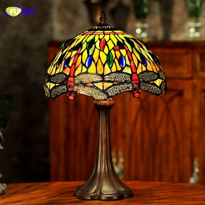 Настольная лампа с витражем Тиффи, фумат, ручной работы, светодиод E26 E27, для домашнего декора, для спальни, прикроватная, 12 дюймов