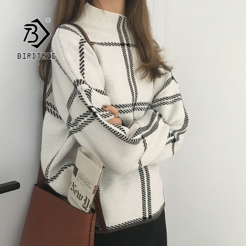 2019 Ins Winter Neue frauen Pullover Pullover Mode Plaid Rollkragen Lose Stricken Volle Hülse Koreanischen Casual Tops T98301D