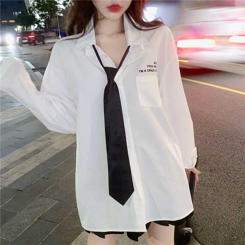 NiceMix, blusa Vintage para Mujer, camisa blanca holgada de talla grande, blusa larga de manga larga para novios para Mujer con lazo, blusa informal para Mujer