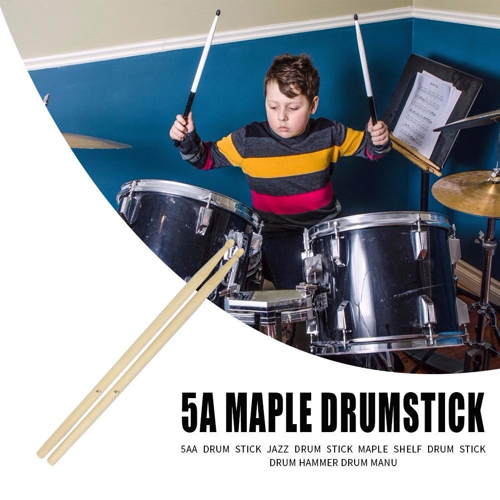 2 uds de madera de arce palillos del tambor 5A baquetas piezas de instrumentos de percusión