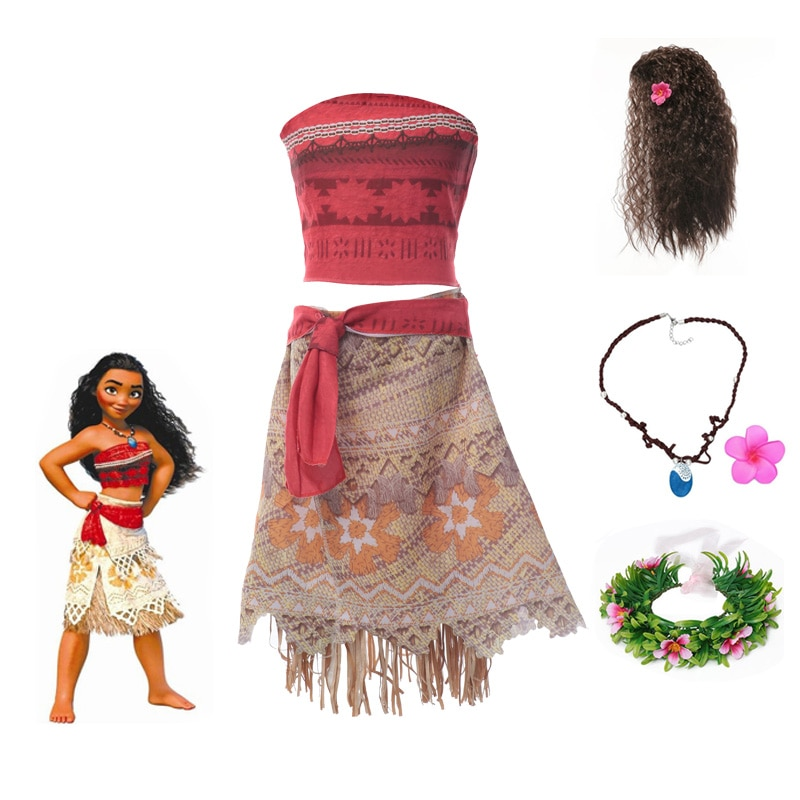 aliexpress - Girls Vaiana Adventure Outfit Princess Cosplay Costume Girls Gifts Summer Children New Fantasy Dress Up Party Clothes