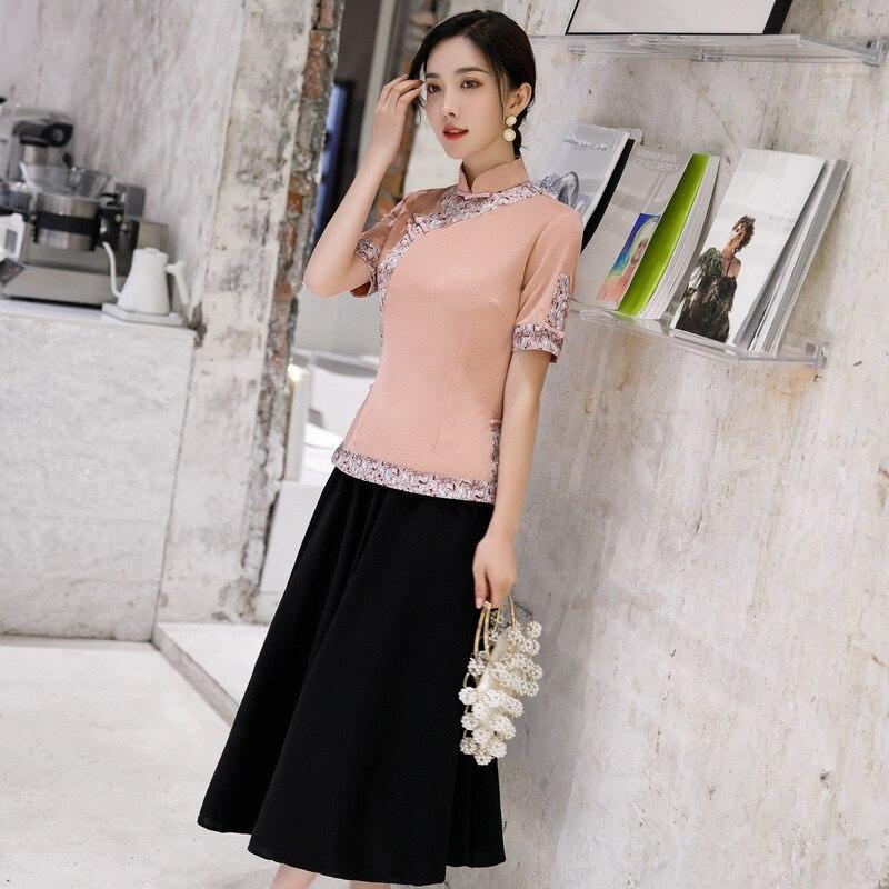 Розовый Ципао одежда КИТАЙСКИЙ ручной работы кнопка воротник Мандарин сценическое шоу Cheongsam наборы размера плюс платья для женщин 4XL 5XL