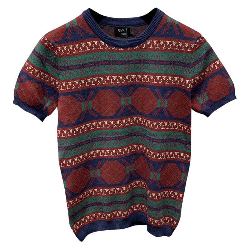 Men's Short-sleeved Ethnic Sweater Autumn and Winter New Fashion Trend Brand Slim Handsome Korean Base Sweater
