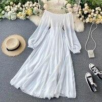 white dress elegant fairy chiffon off shoulder dress maxi long sleeve sexy beach dresses women boho autumn clothes 2021 vintage