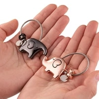 good luck kiss elephant couple keychain pendant wire ring chain cute cartoon women car bag backpack ornaments lovers lanyard