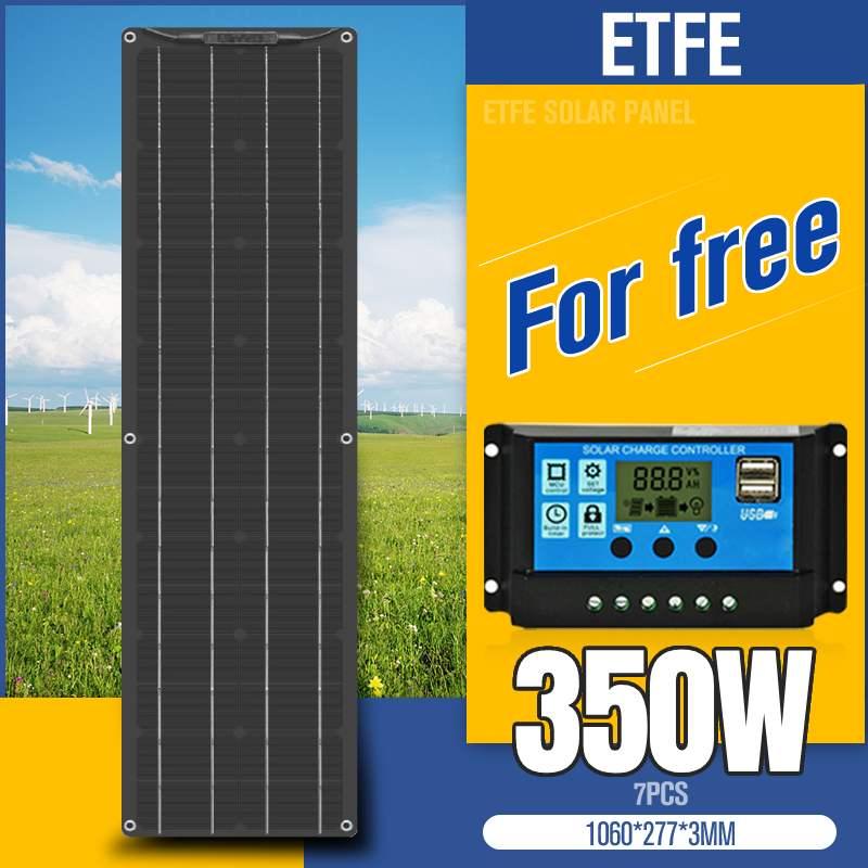 ETFE لوحة طاقة شمسية 350 واط 300 واط 150 واط جهاز تحكم يعمل بالطاقة الشمسية 10/20/30A شاحن يو اس بي لوحة طاقة شمسية عدة كاملة للتخييم في الهواء الطلق فان ...