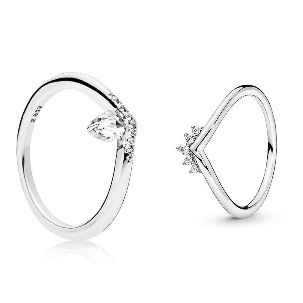 Оригинальное кольцо принцессы из стерлингового серебра 925 пробы, тиара Wishbone Cystal, европейские кольца для женщин, подарок для свадебной вечер...