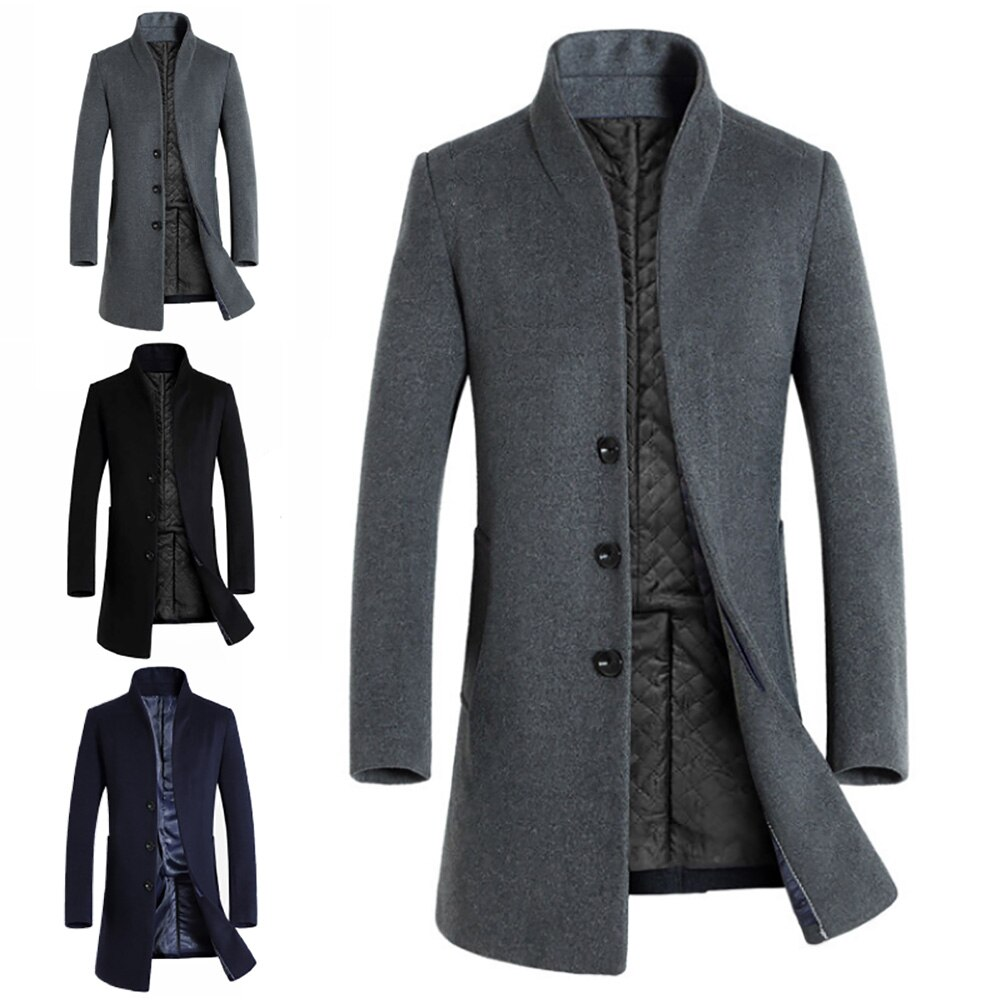 Venda quente inverno quente cor sólida de lã trench coat fino outwear casaco longo casaco único breasted jaquetas quente longo casaco