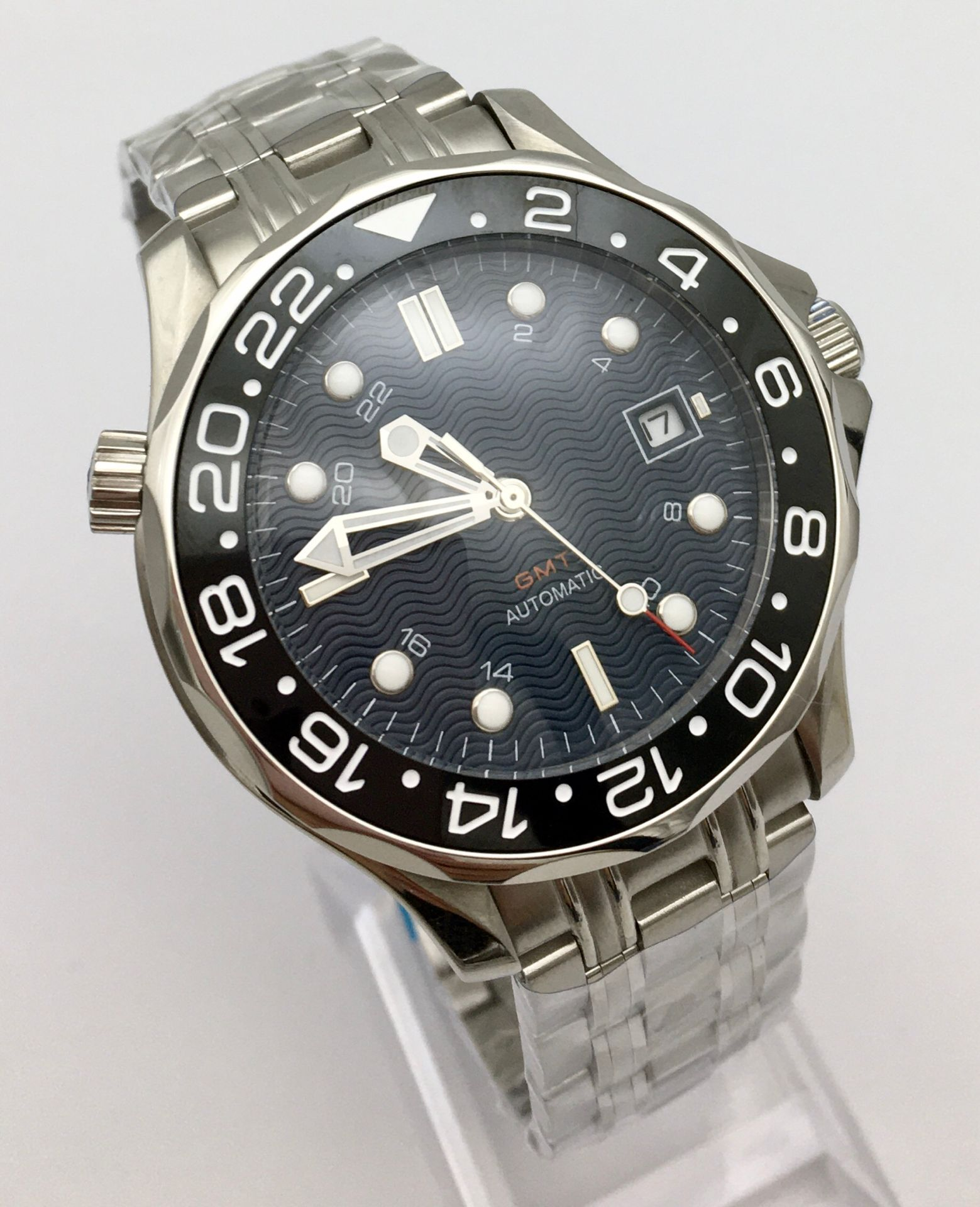 41cm Blue Wave Dial Mechanical Men's Watch Automatic Watch Men's Clock Date Ceramic Bezel Stainless Steel Solid Case enlarge