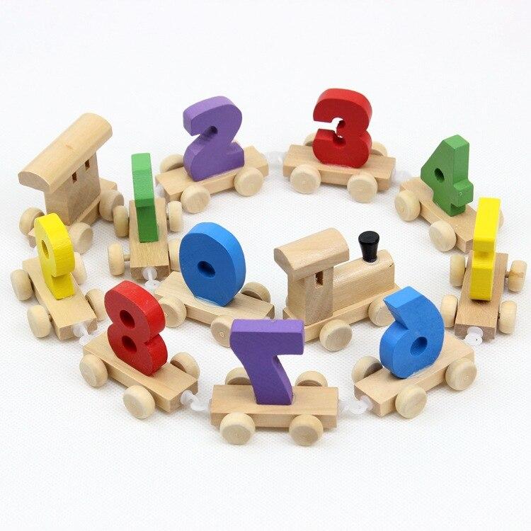 Com números pequeno trem crianças produto de madeira infância brinquedo educativo crianças bebê de madeira desenvolvimento criativo intel