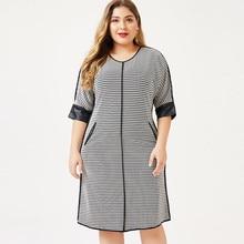 2020 printemps femmes robe de grande taille pied-de-poule mode dames femal élégant midi robes femme soirée