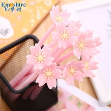 Soft Plastic Flower Gel Pen Creative Stationery Beautiful Cherry Water based Ball Pen Girl Heart Series Office Ballpoint Pen 822