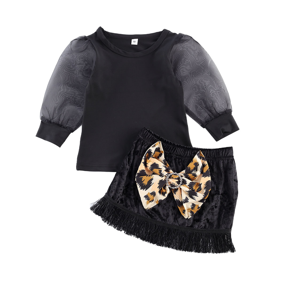 Toddler Kid Baby Girl Clothes Set Autumn Lace Long Sleeve Tops Bow Leopard Tassel Skirts Outfit Children
