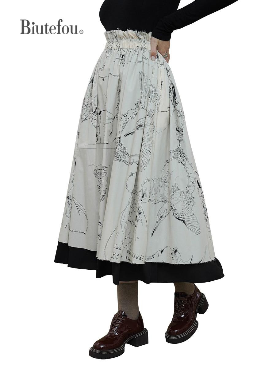 【Biutefou】Original Design 2021 Autumn Women Exclusive Yamamoto Dark Art Sketch Print Black and White Illustration Skirt