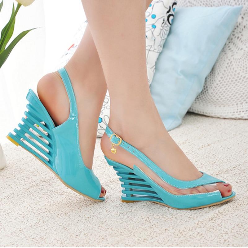 Woman 2020 Heels Sandals High Women's Peep Toe Ladies Transparent Women Wedges Fashion Slingbacks Buckle Female Shoes Plus Size