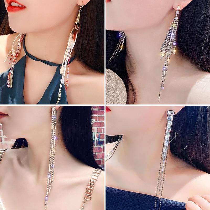 NPKDS Luxus Temperament Lange Quaste Ohrringe mit Diamanten Mode Übertrieben Super Lange Ohrringe Lange Ohrringe Schmuck