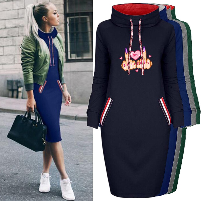 Thin Woman Dress Fall Long Sleeve Drawstring Harajuku Slim Letter Print Pullover Dresses Package Hip Clothes 2021