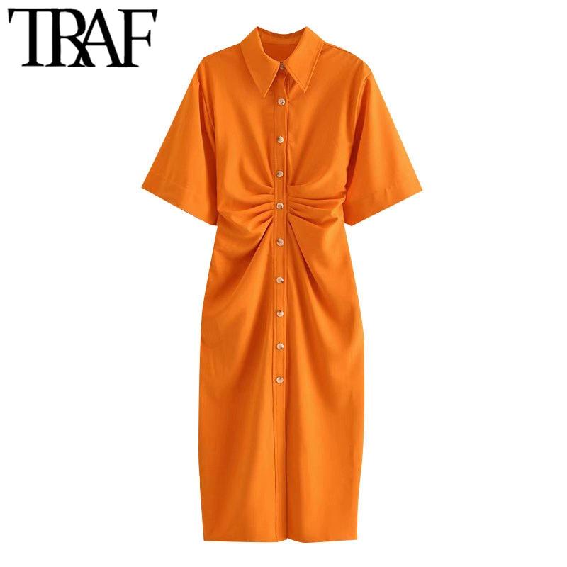 TRAF Women Chic Fashion Button-up Draped Midi Shirt Dress Vintage Short Sleeve Side Zipper Female Dresses Vestidos