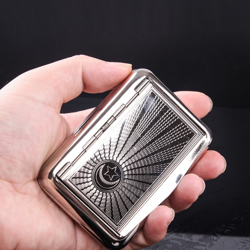 Tamanho de bolso portátil metal tabaco caixa manter umidade cigarro caixa armazenamento titular cigarro fumar acessórios sm189
