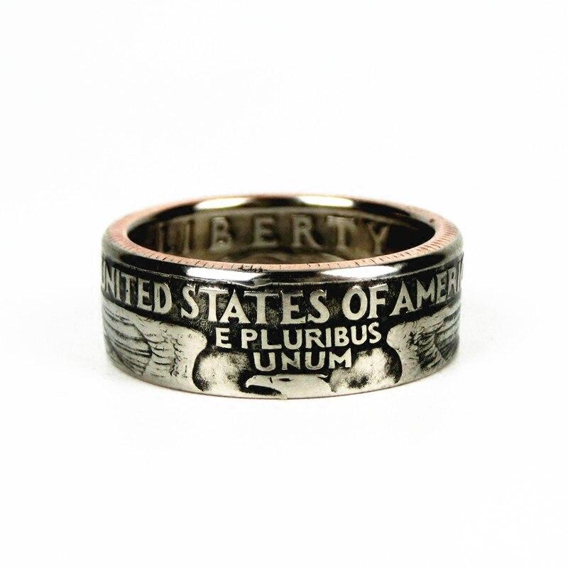 Anillo de moneda hecho a mano US 25 Cent 100% Anillo de moneda original Real artesanía en tamaños 11-25 envío gratis