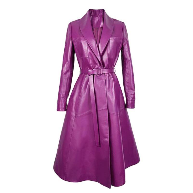 Spring Autumn Purple Sheepskin Genuine Leather Coat Women Outerwear Long Suit Ladies Overcoat Gothic Jacket Coats Korean Clothes