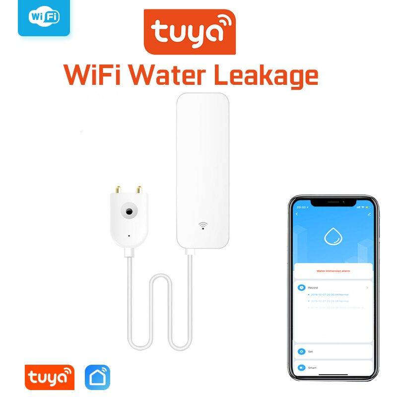 Датчик утечки воды Tuya Wi-Fi, детектор утечки воды, оповещения приложения Smartlife, Оповещение об утечке воды, сигнализация утечки воды, Домашняя б...