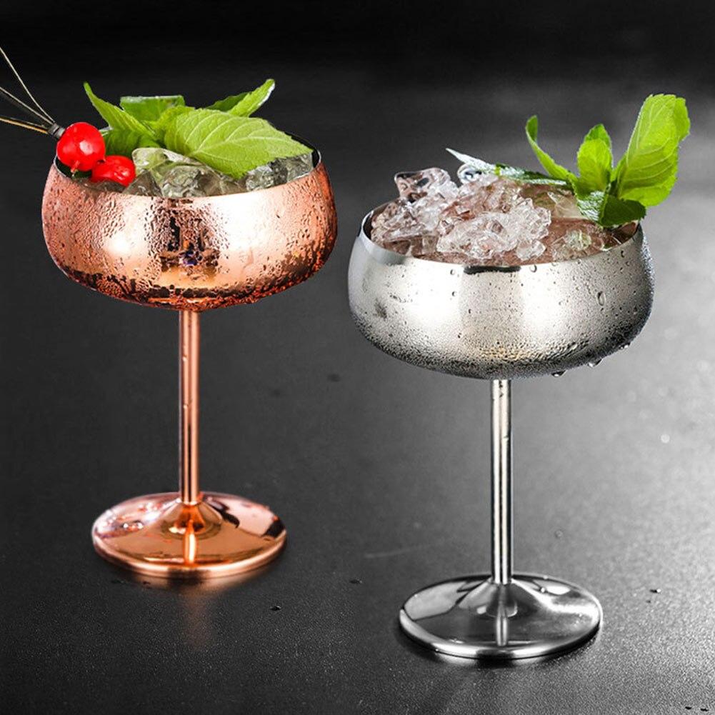 2 قطعة الفولاذ المقاوم للصدأ كأس للنبيذ واسعة الفم طبق كوكتيل كوب عصير الحلوى عدم الانزلاق درينكوير الشمبانيا 450 مللي دائم