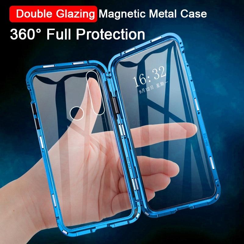 Funda de teléfono de vidrio de doble cara de Metal magnético para Huawei Honor Mate 30 20 Lite P30 P40 P20 Pro 8X 9X Y9 Prime P Smart Z 2019