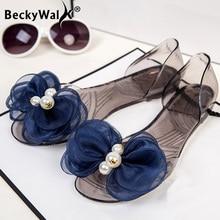 2020 Sandals Women Transparent Flats Shoes Woman Pearl Bowknot Summer Ladies Shoes Open Toe Roman Beach Sandalias Mujer  WSH3550