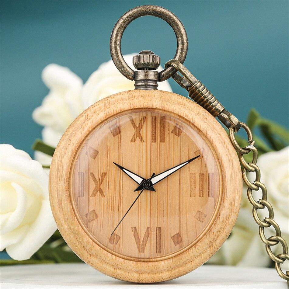 Relógio de Bolso de Madeira de Bambu Pingente de Quartzo Gravado Numerais Romanos Luminosa Mãos Dial Criativo Elegante Bolso Relógio Gravador
