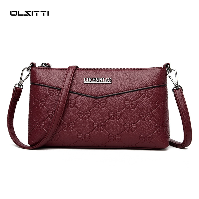 OLSITTI Retro Embossing Small Square Bag High Quality Leather Shoulder Bags for Women 2021 Designer New Crossbody