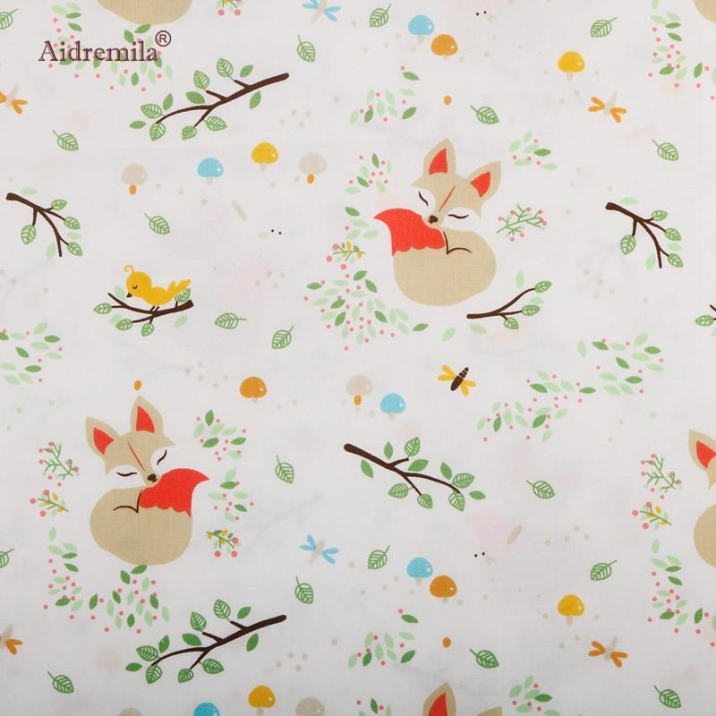 De dibujos animados Fox tela de algodón impreso de tela para manualidades, costura y acolchado bebé niño ropa de cama almohada Muppet juguetes Material 50x160cm