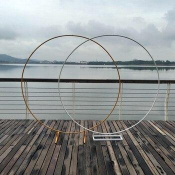 Décor arche de mariage en fer forgé, étagère décorative circulaire, support d'arrière-plan pour fleurs avec cadre, à monter soi-même