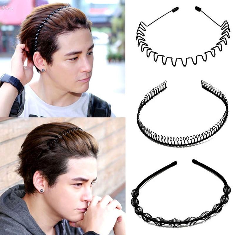 AOMU 1 pc Mode Herren Frauen Unisex Schwarz Wellig Hair Haar Hoop Sport Stirnband Haarband Gesicht Waschen Haar Zubehör
