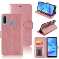 mks phone case for huawei nova 4e flip stand magnetic soft tpu silicone pu leather wallet case with id card slot