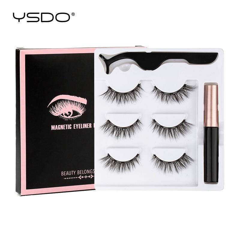 YSDO 2/3 pcs magnetic eyelashes natural 3d mink false eye lashes short magnetic lashes liquid eyeliner tweezer sets makeup tools
