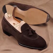 Men's Handmade Retro Fashion Dress Shoes Trend Casual Fashion Brown Suede Classic Tassel Low Heel  L
