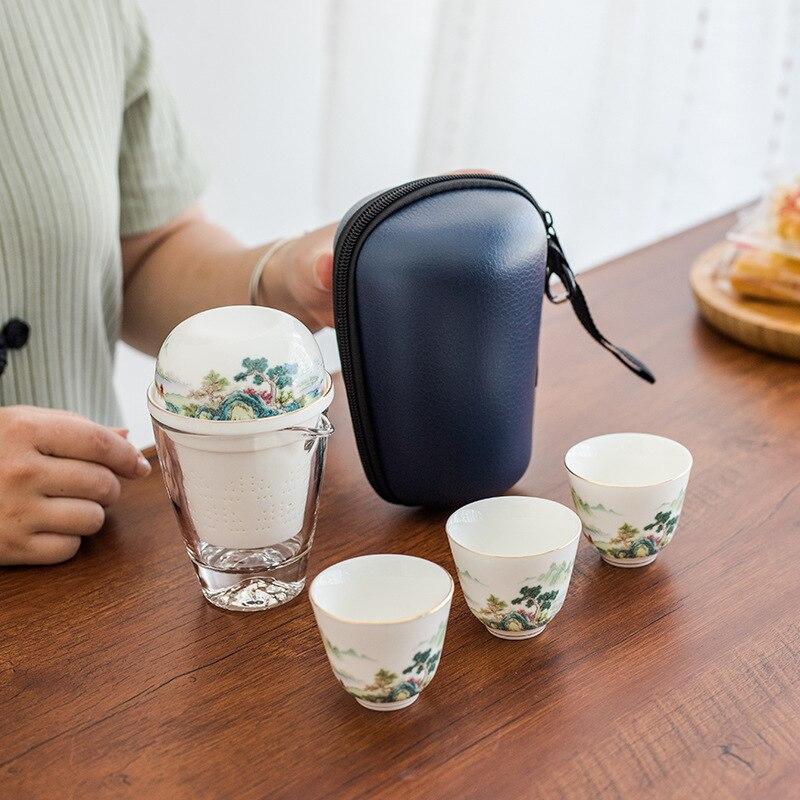 الصينية خمر طقم شاي السفر السيراميك المنزل الخزف بعد الظهر طقم شاي الأواني الفخارية Juego دي Te اليابانية المطبخ الطعام بار DL60CT