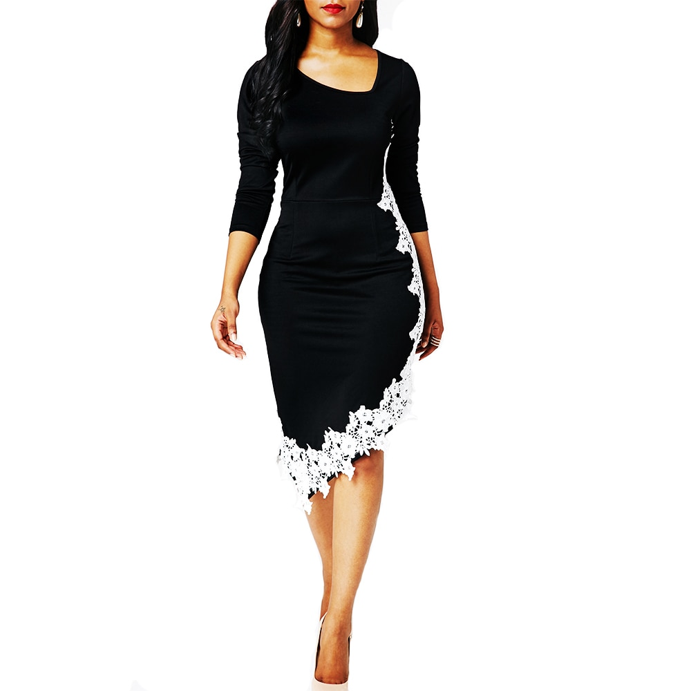 Woman Dress 2021 Spring Vintage Sexy Patchwork Lace Long Party Dress Casual Plus Size Slim Irregular Office Bodycon Dresses 5XL vintage sexy print patchwork bodycon dresses women 2021 summer autumn casual elegant slim office party dress plus size 5xl