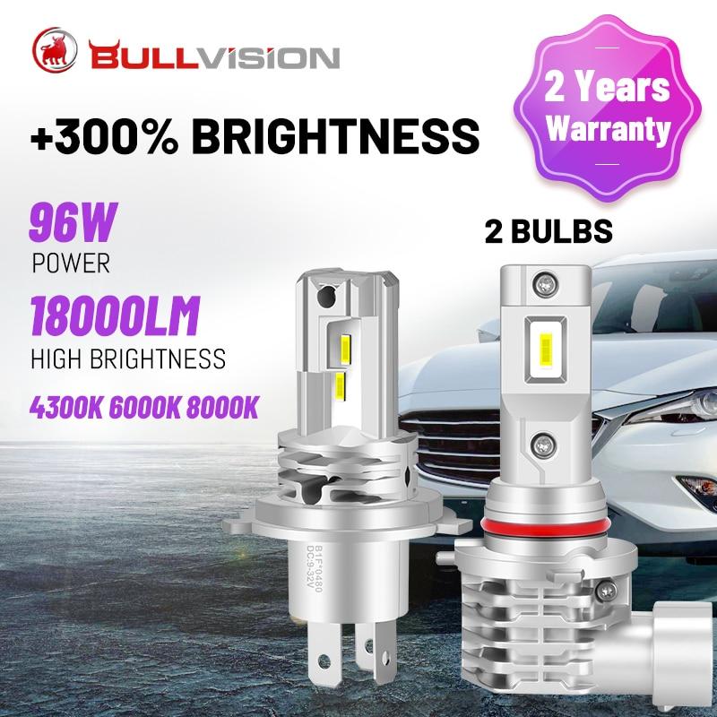 بولفيجن H4 LED المصابيح الأمامية سيارة عالية شعاع منخفض شعاع H7 H11 H8 H9 9005 9006 HB3 HB4 6000K 8000K سيارة لاسلكية ضوء لمبة التوصيل والتشغيل