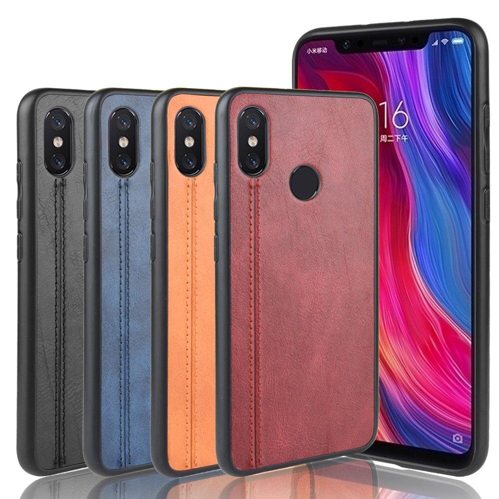 For Xiaomi Mi 8 SE Case Suture Soft Edge PU Leather Hard Phone Cover For Xiaomi Mi 8 8SE Mi8 SE Case