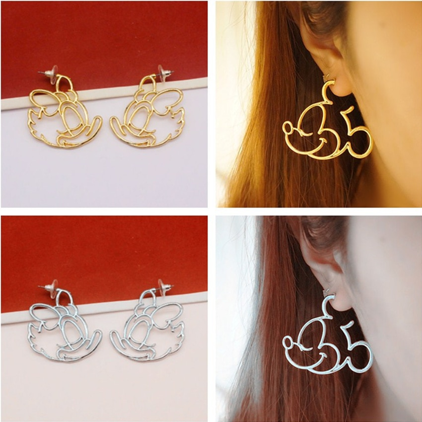 Cxwind Animal Mouse Earing Tiny Cartoon Mickey Earrings for Women Kids Earring Ear Studs Pendientes Charm Leaf Heart Cat Jewelry