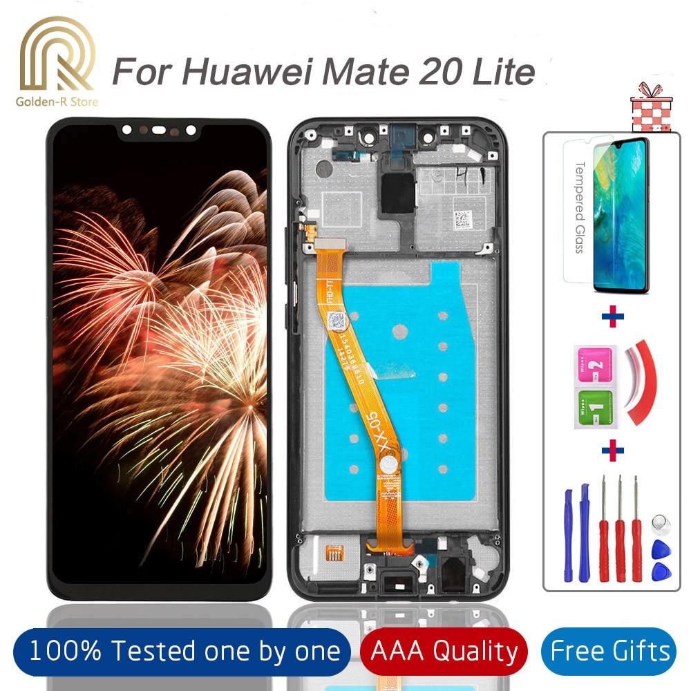 Протестированный дисплей с рамкой для Huawei Mate 20 lite Lcd сенсорный экран дигитайзер панель стекло для Mate20 Lite SNE-LX1 полная сборка